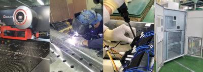 設計から、精密板金加工と電気配線・配管の一貫加工対応